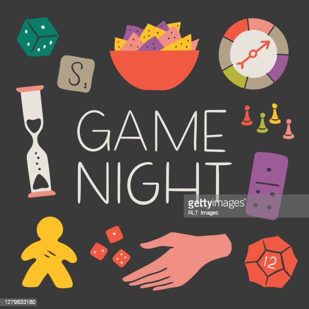 illustration of fun game night components with copy space — hand-drawn vector elements - game night leisure activity stock illustrations