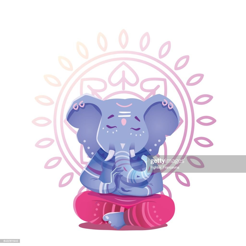 Illustration of Ganesh Indian god of wisdom and prosperity.