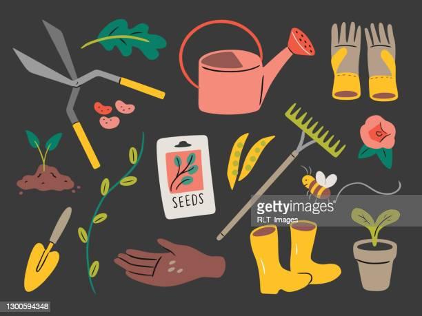 illustration of gardening elements — hand-drawn vector elements - green thumb stock illustrations