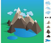 Illustration of geometric mountaun lake landscape