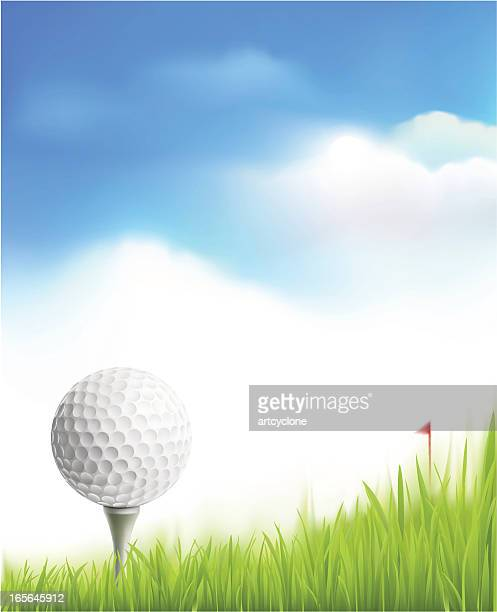 illustration of golf ball upon a tee in front of a flag - teeing off stock illustrations, clip art, cartoons, & icons