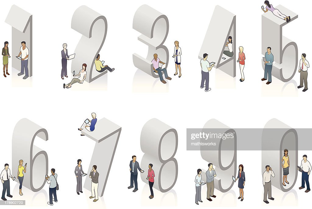 Illustration of gray isometric numbers with people
