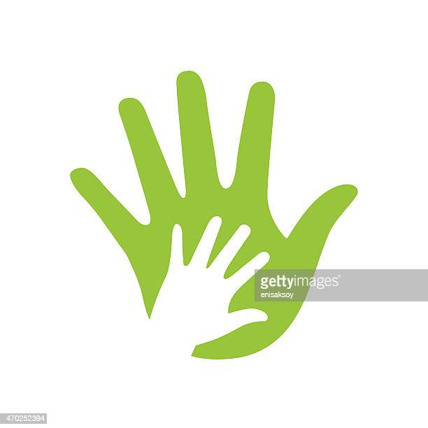 Illustration of green adult's hand and white kid's hand