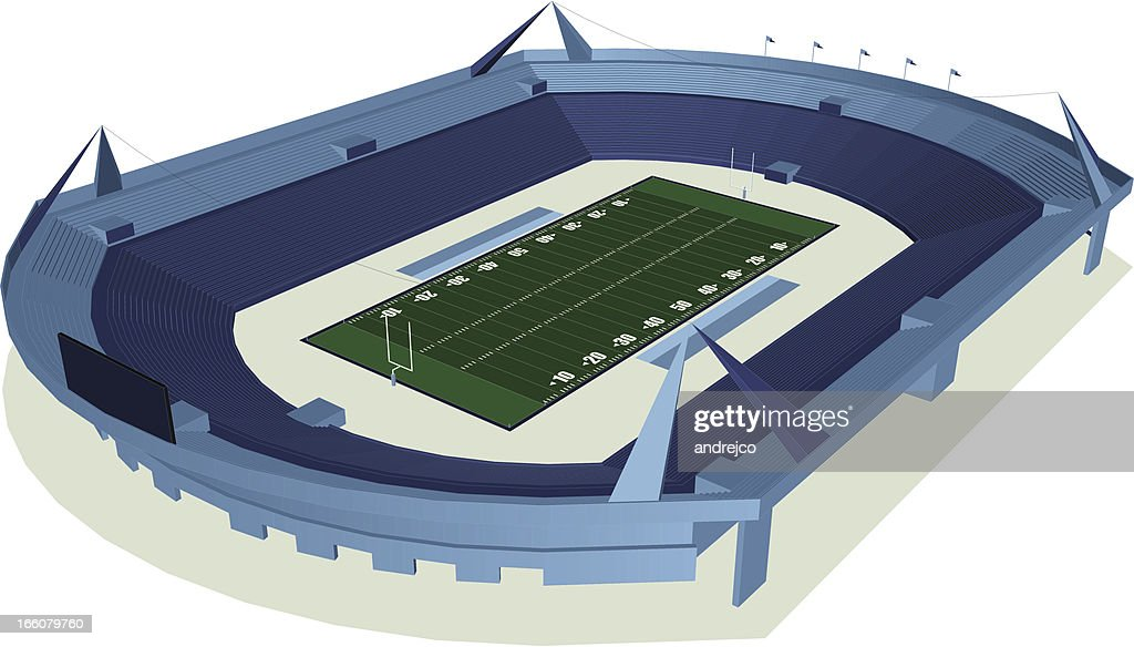 Illustration of green football field and multilevel stadium