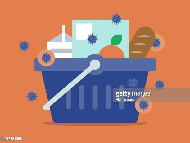 illustration of grocery basket full of food infected with pathogens - food staple stock illustrations