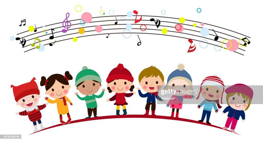 Illustration of group of children singing