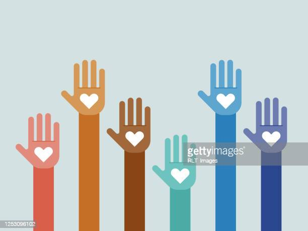 illustration of group of multi-colored hands raised together - diversity stock illustrations