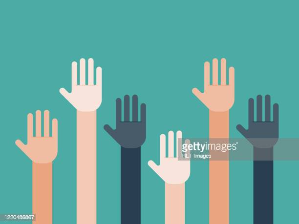 illustration of group of multiethnic hands raised in giving - respect stock illustrations