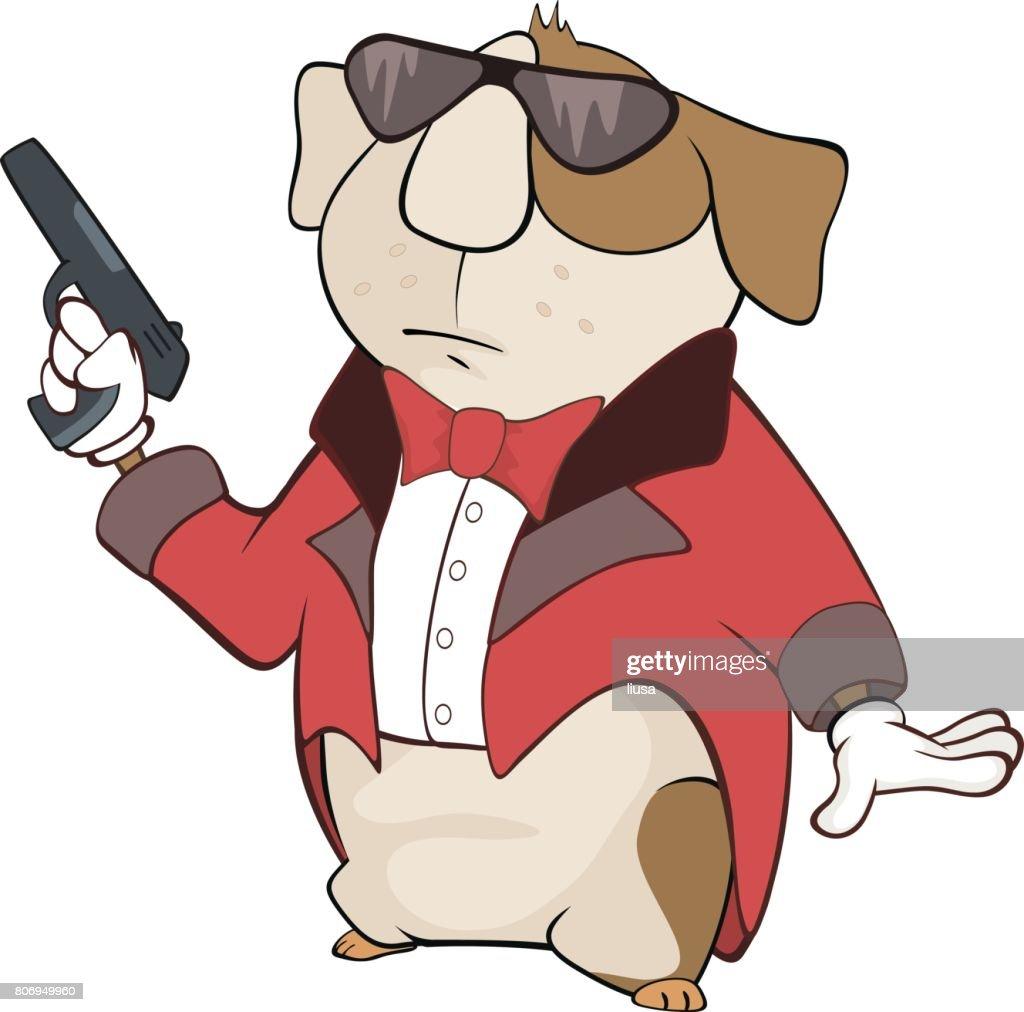 Illustration of Guinea Pig Gangster Cartoon Character