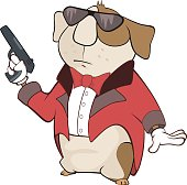 Illustration of Guinea Pig Gangster Cartoon Character