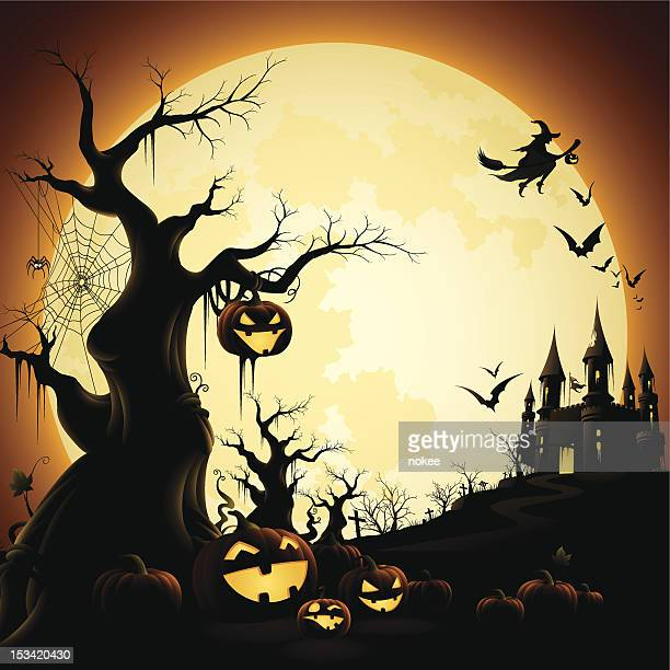 Illustration of Halloween-themed silhouettes over orange