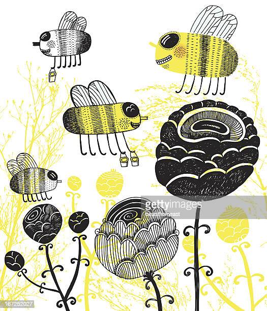 illustration of hand drawn busy bees, flowers and plants - bumblebee stock illustrations, clip art, cartoons, & icons