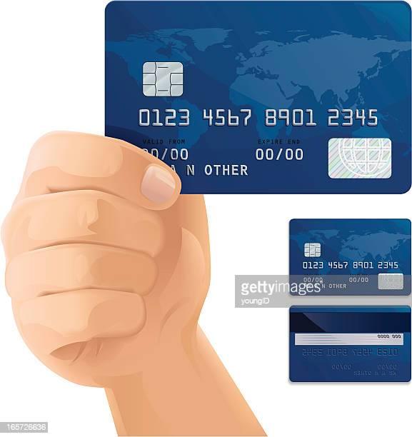 illustrations, cliparts, dessins animés et icônes de carte de crédit - tenir
