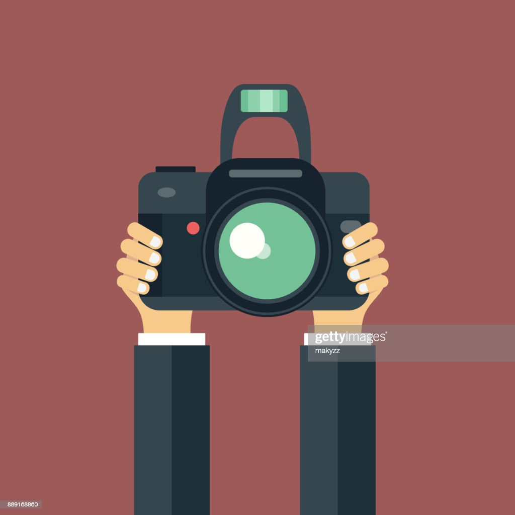 Illustration of hand holding camera. Concept for journalism and photography. flat vector illustration