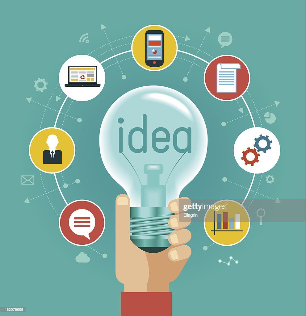 Illustration of hand holding light bulb with icons