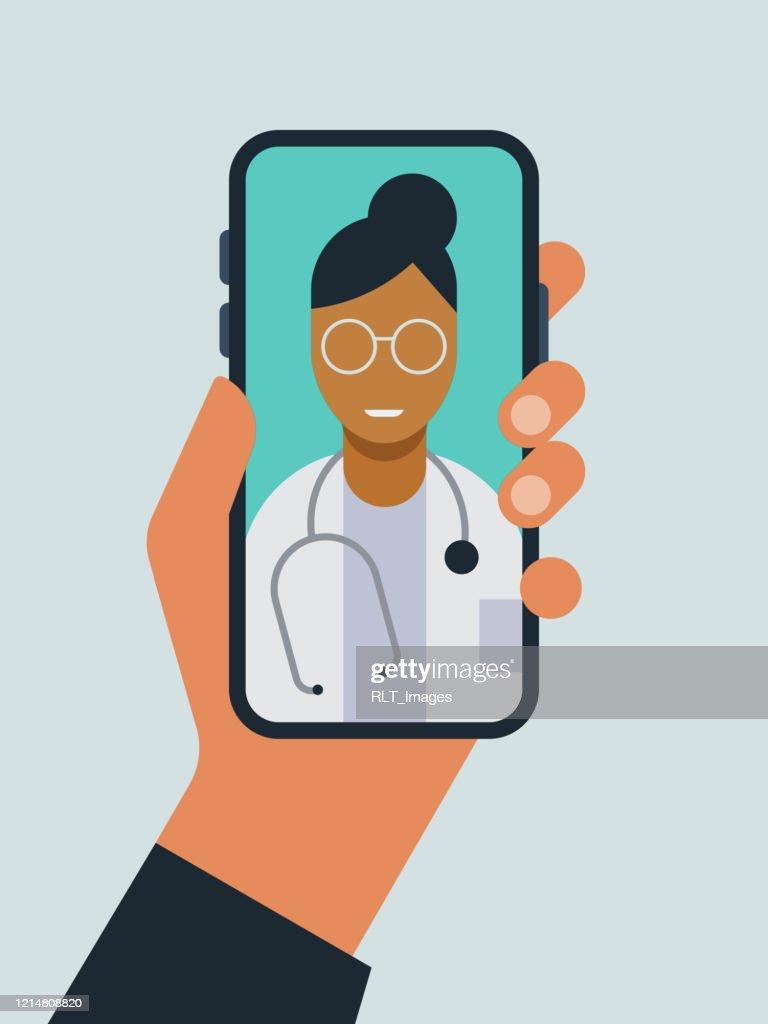 Illustratie van hand die slimme telefoon met arts op het scherm tijdens telemedicine artsbezoek houdt : Stockillustraties