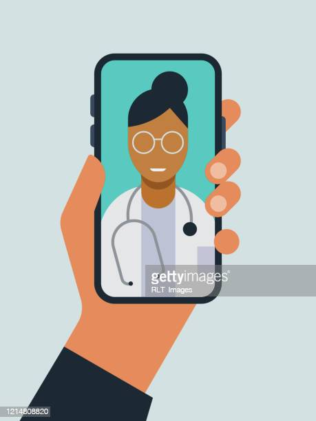 illustration of hand holding smart phone with doctor on screen during telemedicine doctor visit - human hand stock illustrations