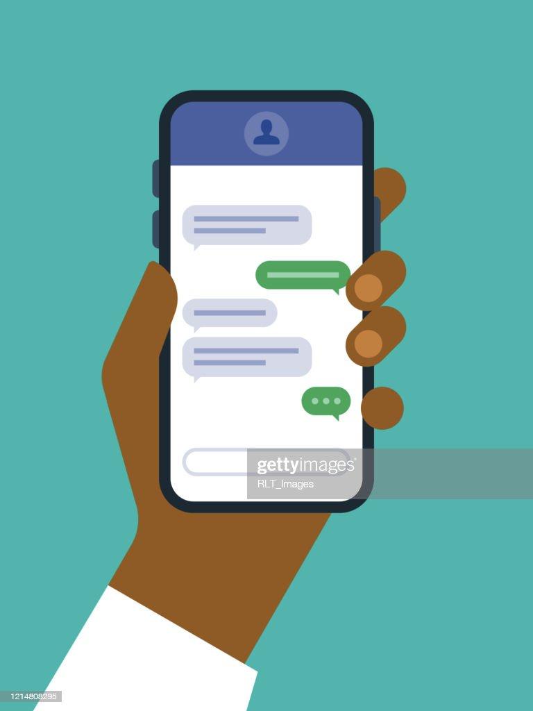 Illustratie van hand die slimme telefoon met tekstberichtenscherm houdt : Stockillustraties