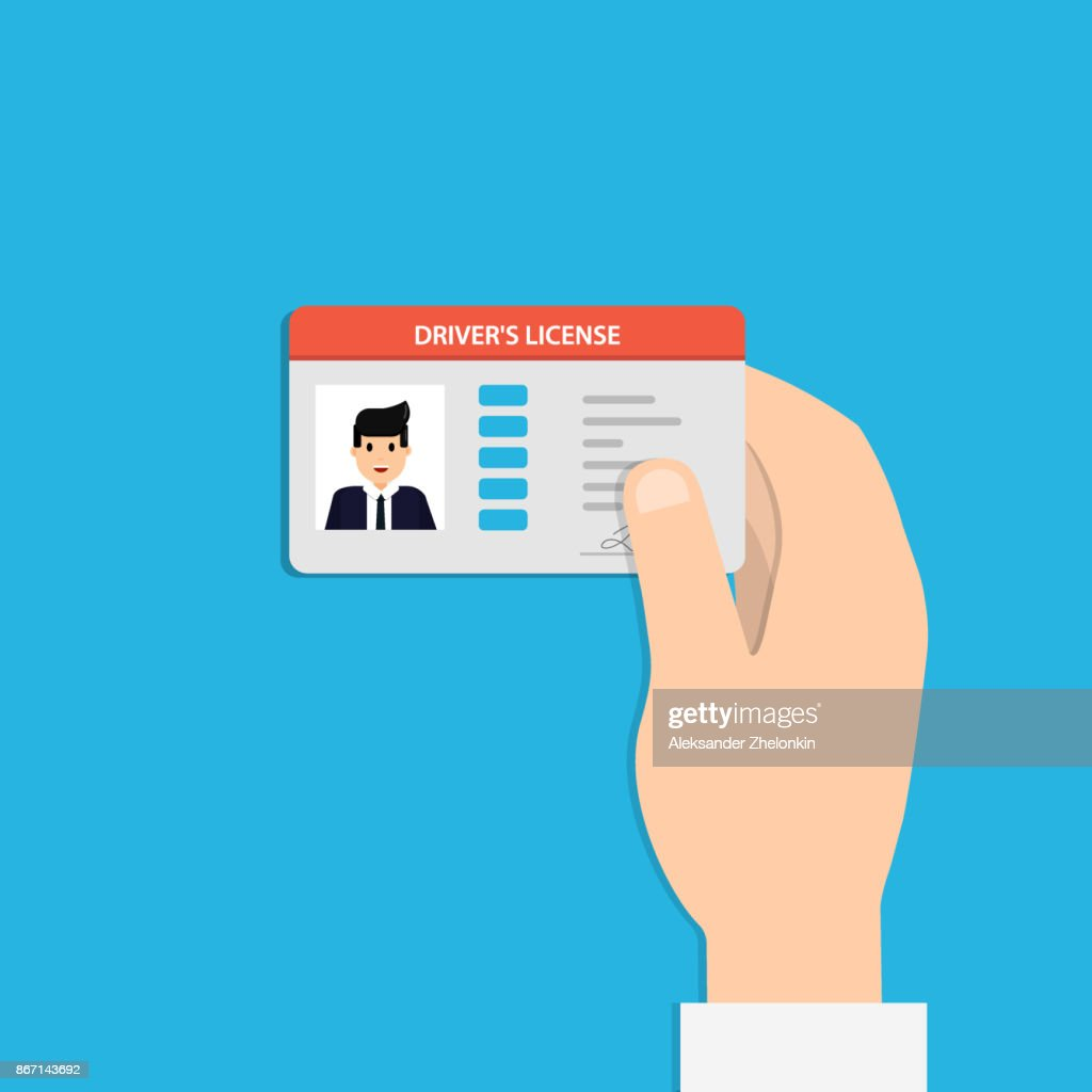 Illustration of hand holding the car driver's license identification card with photo. Vector illustration design.