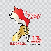 Illustration of hand with Indonesia Flag for Independence Day