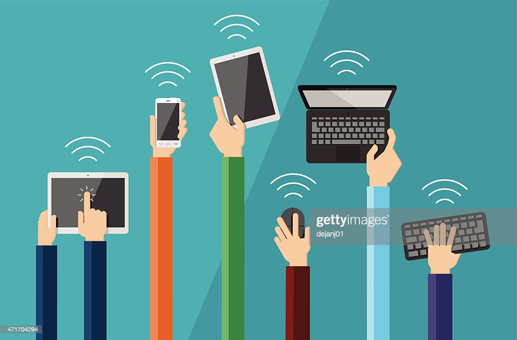 Illustration of hands holding hi tech devices