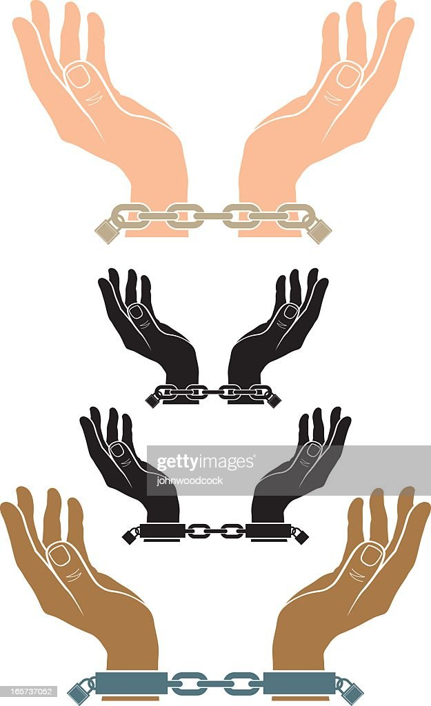 Illustration of hands with handcuffs