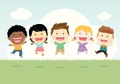 Illustration of happy children
