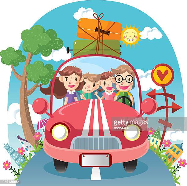 Illustration of happy family traveling in car on road trip