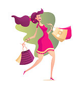 Illustration of happy female with shopping bags