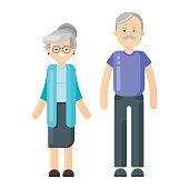 illustration of happy smiling senior couple.