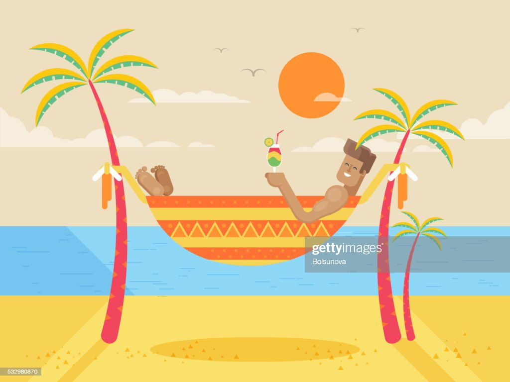 illustration of happy sunny summer day at beach with tanned