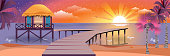 illustration of happy sunny summer night at beach with bungalows