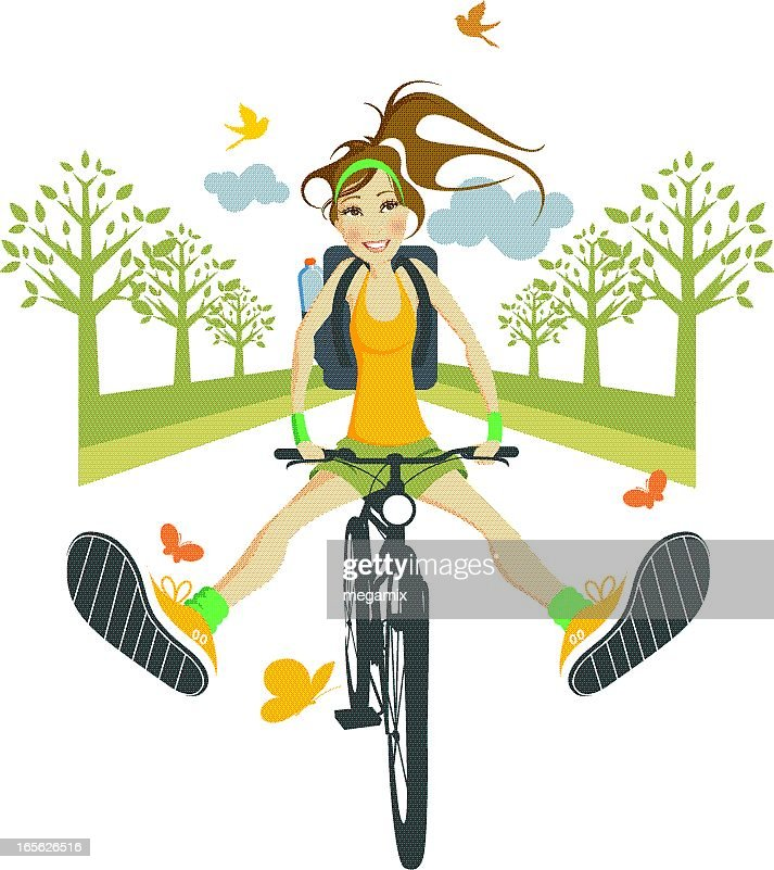 Illustration of happy woman riding a bike