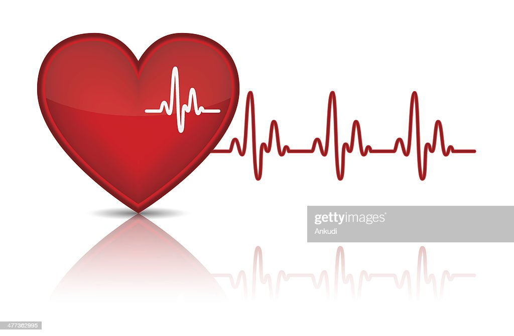 Illustration of heart with heartbeat, electrocardiogram,