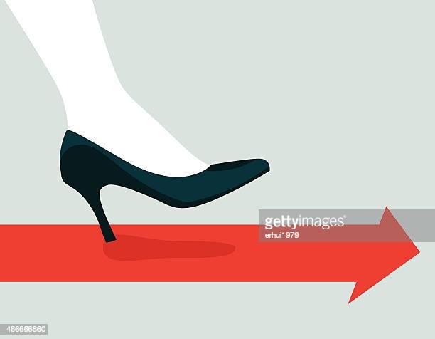 illustration of high heels walking - high heels stock illustrations, clip art, cartoons, & icons