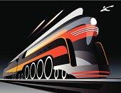 Illustration of high speed locomotive in motion