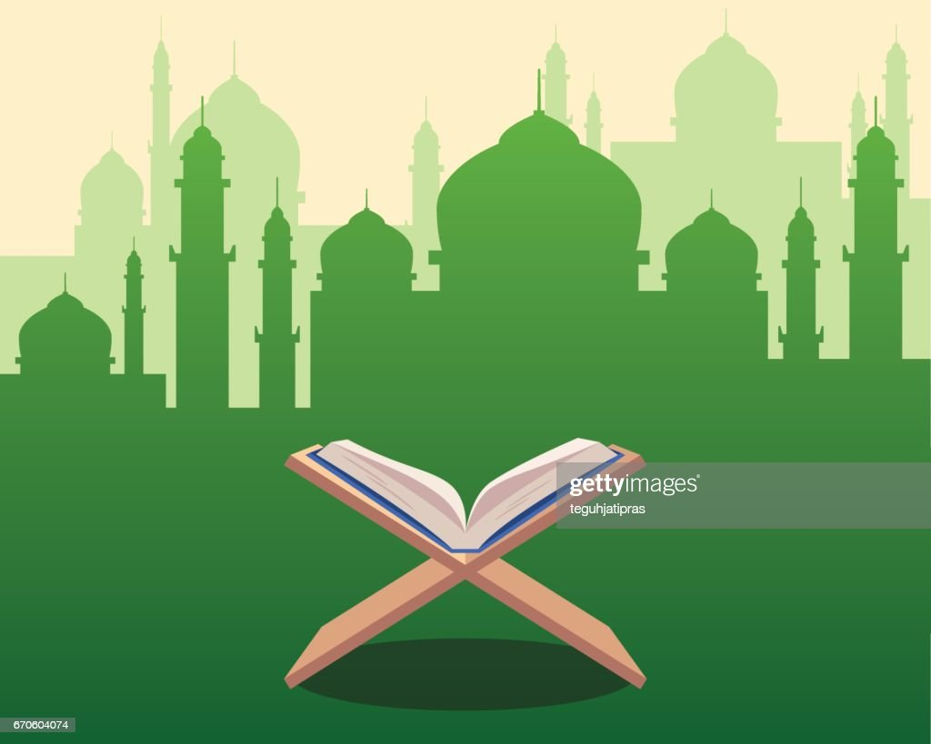 illustration of Holy Qoran on wood table with green silhouette of a mosque with dome and towers as background
