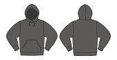 Illustration of hoodie (hooded sweatshirt) /charcoal color