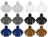 Illustration of hoodie (hooded sweatshirt) / color variations