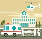 Illustration of hospital ambulance and person on stretcher