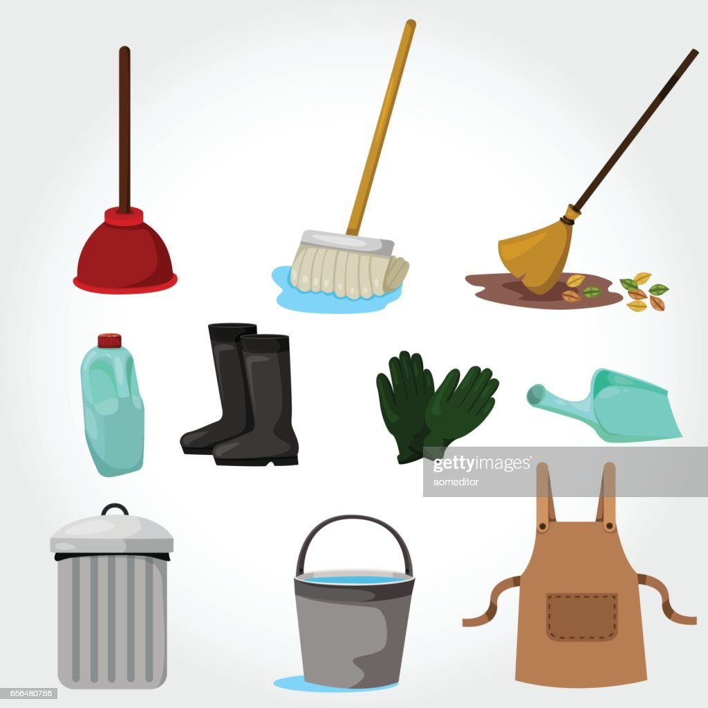 Illustration of House cleaning tools