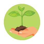 Illustration of human hand holding green small plant