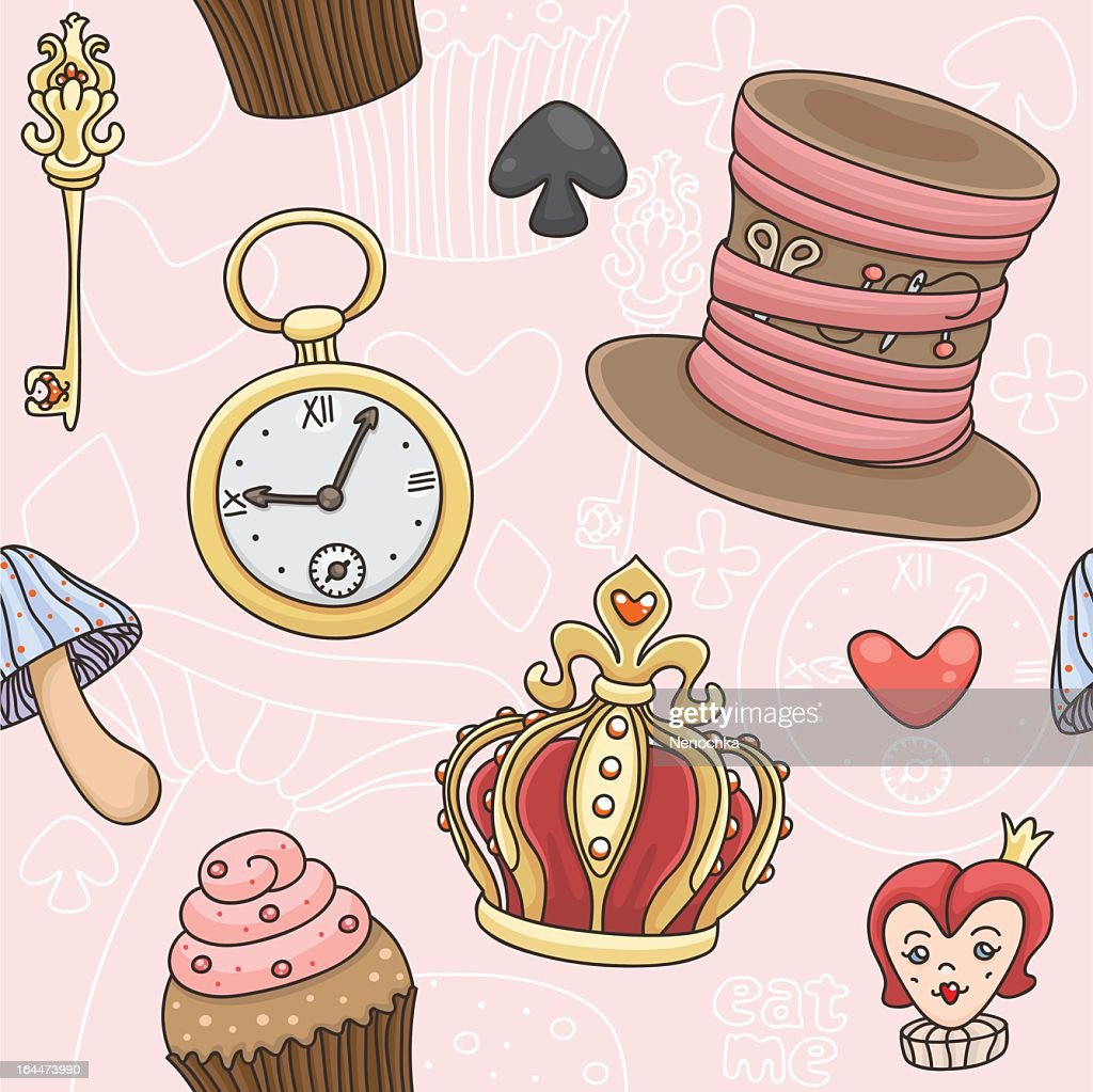 Illustration of images from Alice in Wonderland