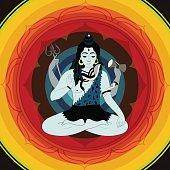 Illustration of Indian Supreme God Lord  Shiva sitting in meditation.