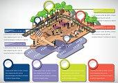 illustration of info graphic urban park concept