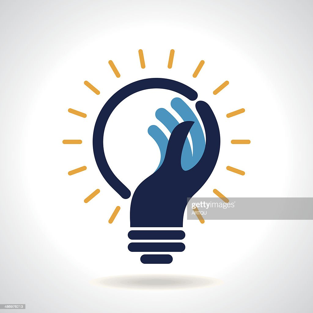 Illustration of integrated hand and light bulb