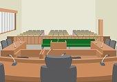 Illustration of interior / Courtroom