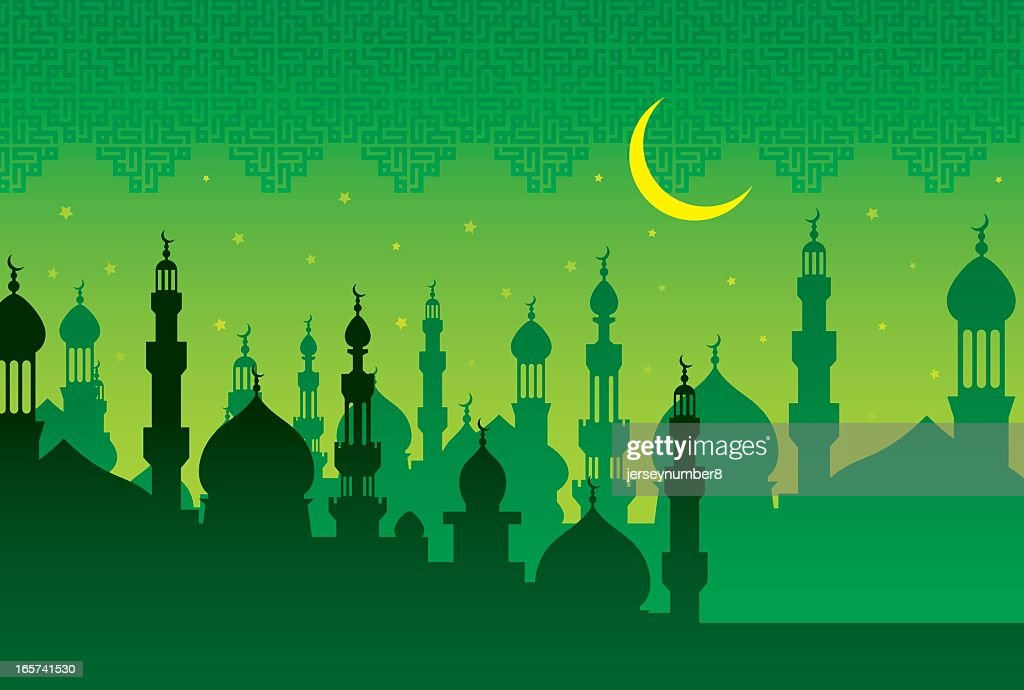Illustration of islamic mosque in green tone