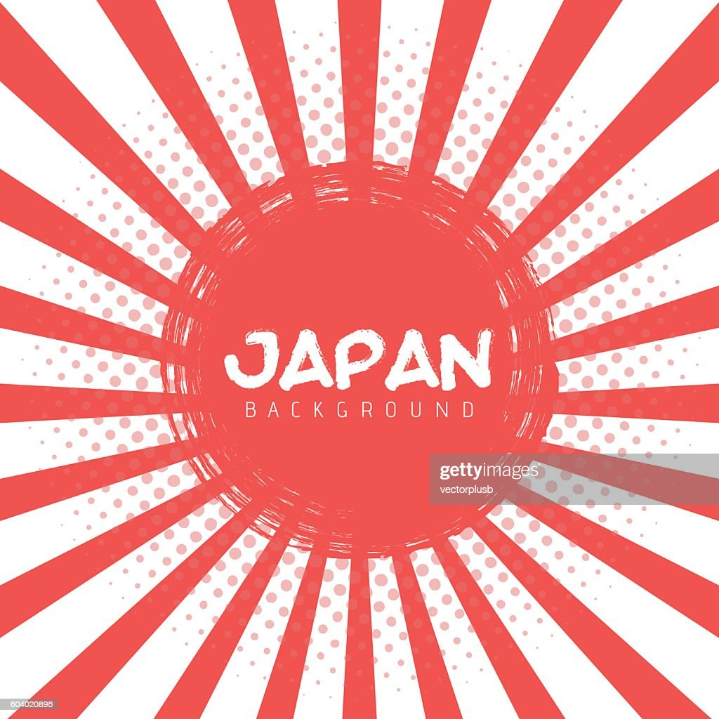 Illustration of Japan Flag Vector Background. Retro Style