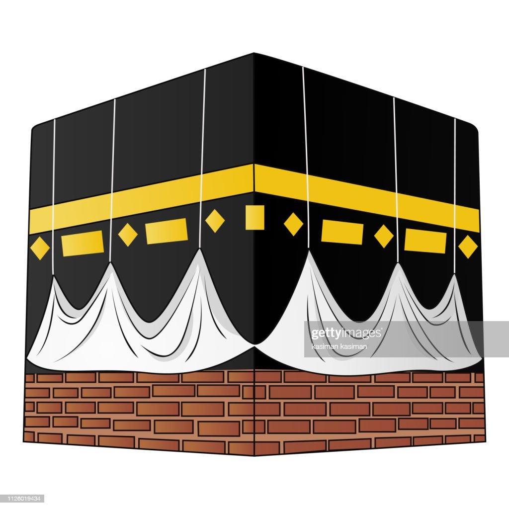 Illustration of kaaba isolated on white background